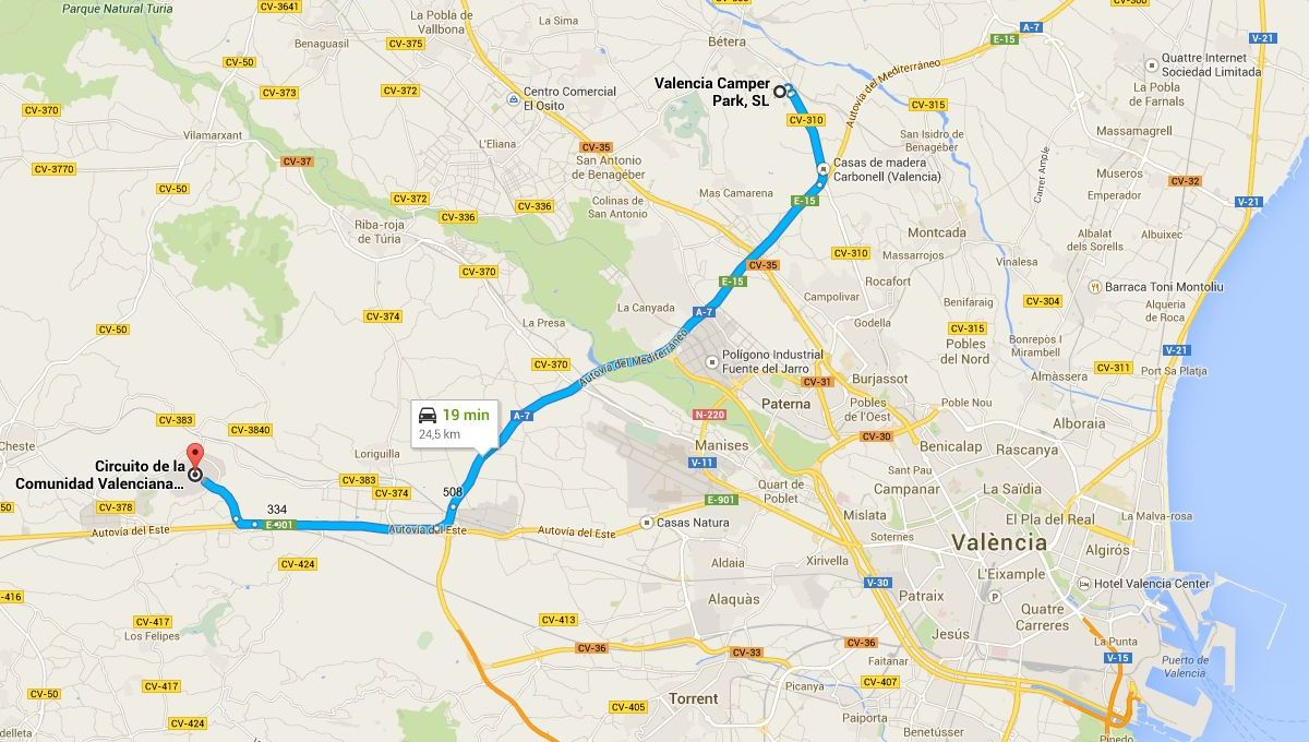 De Valencia Camper Park al circuito Ricardo Tormo, en Cheste